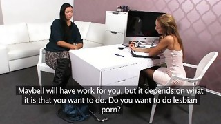 Lesbian;Masturbation;Oral Sex;Bondage;Brunette;Black-haired;Caucasian;Vaginal Masturbation;Toys;Licking Vagina;Shaved;Stockings;Office