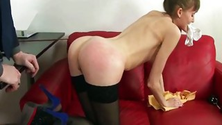 Couple;Masturbation;Toys;Shaved;Stockings;Secretary;Skinny;Spanking