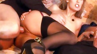 Vaginal Sex;Oral Sex;Anal Sex;Double Penetration;Blonde;Caucasian;Blowjob;Stockings;Cum Shot;Threesome;High Heels