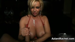 Busty blonde milf jerks and sucks