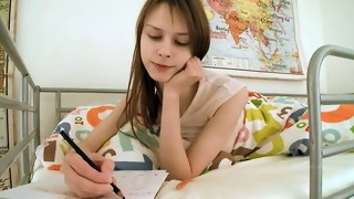 Teen chick doing pussy homework