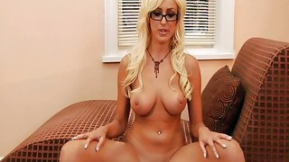 Solo Girl;Masturbation;Blonde;Caucasian;Vaginal Masturbation;Shaved;Piercings;Pornstar;Glasses
