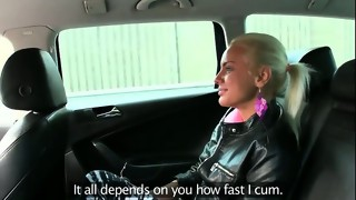 Blonde gets tight pussy fucked in taxi