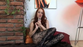 fetish,gyno exam,jerking,masturbation,nylon,redhead,toys